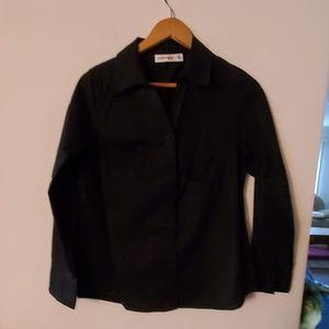 St John's Bay Black Long Sleeve Blouse - M
